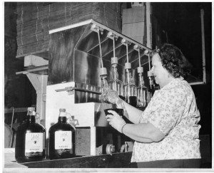 Cleo Benti on the bottling line at BARGETTO WINERY 1960s
