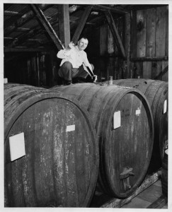 John Bargetto getting barrel samples 1960s