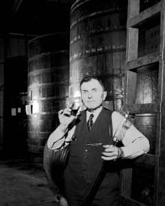 John Bargetto in cellar at BARGETTO WINERY with thief February 21, 1950