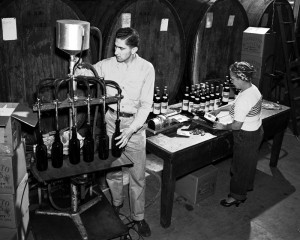 Ralph Bargetto bottling zin February 21, 1950 at BARGETTO WINERY