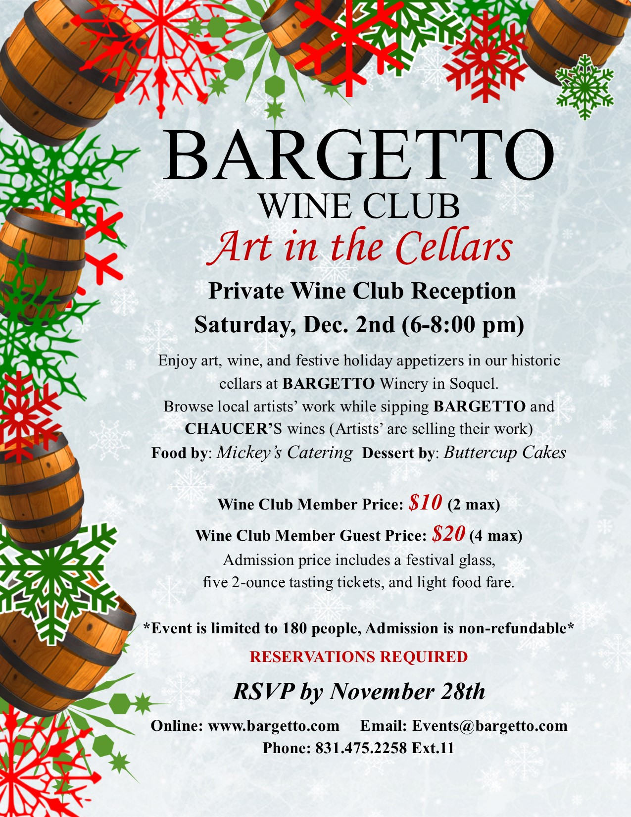 BARGETTO WINERY'S Annual Art in the Cellars *PRIVATE WINE CLUB RECEPTION* @ BARGETTO WINERY CELLARS