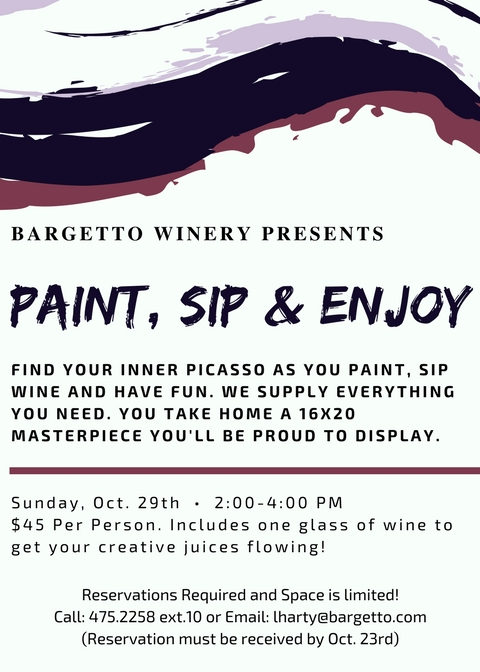 PAINT, SIP & ENJOY at BARGETTO WINERY @ BARGETTO WINERY