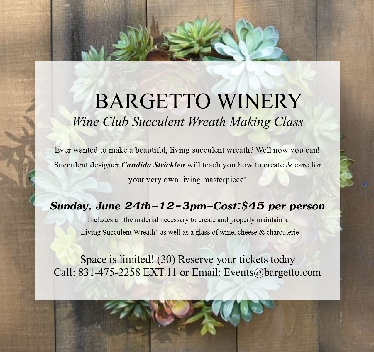 Wine club exclusive succulent wreath making class sold out stopboris Choice Image
