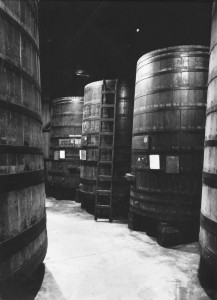 Ansel Adams portrait of redwood tanks at BARGETTO WINERY 1960s