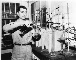 Larry Bargetto in the lab at BARGETTO WINERY  1950s