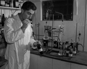 Larry Bargetto testing wine in lab at BARGETTO WINERY February 21, 1950